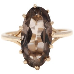 Vintage 10 Karat Yellow Gold Smokey Quartz Long Oval Ring