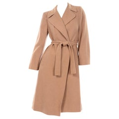 Vintage 100% Camel Hair Tan Trench Coat Open Front W Belt & Pockets Woolf Bros