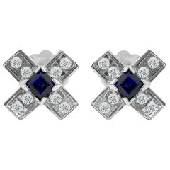 Vintage 1.00 Carat Diamond and Blue Sapphire Stud Earrings