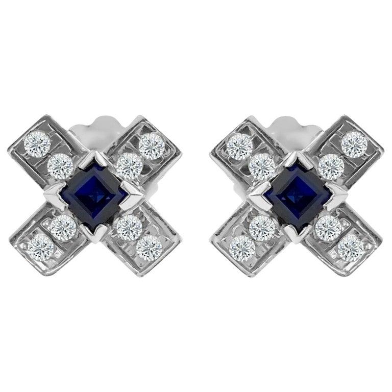 Vintage 1.00 Carat Diamond and Blue Sapphire Stud Earrings For Sale