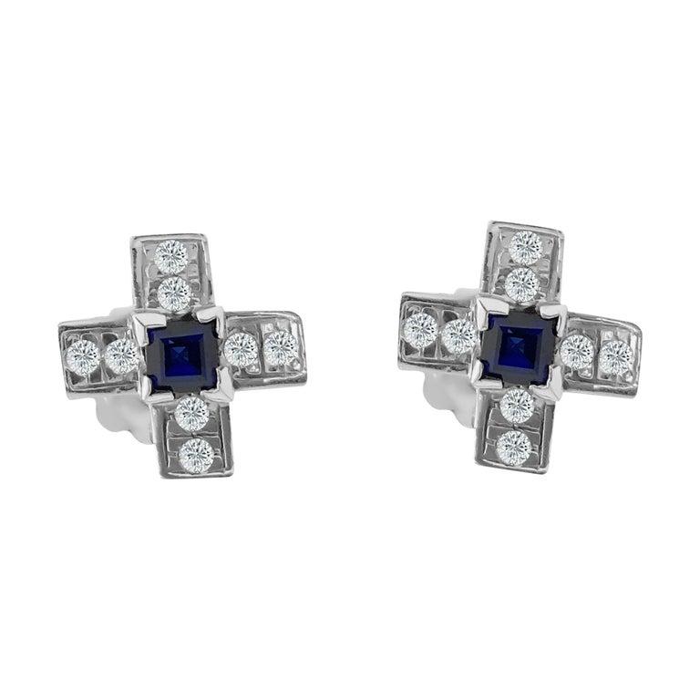 Victorian Vintage 1.00 Carat Diamond and Blue Sapphire Stud Earrings For Sale
