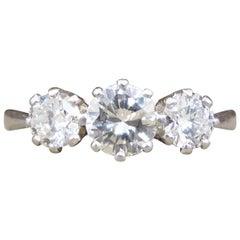Vintage 1.00 Carat total Diamond Three-Stone Ring in Platinum