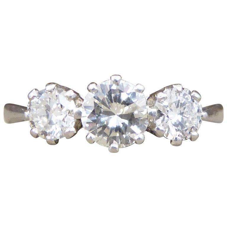 Vintage 1.00 Carat total Diamond Three-Stone Ring in Platinum For Sale
