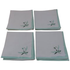 Vintage 100% Linen Embroidered Set of 4 Hand Towels in White and Green Napkins
