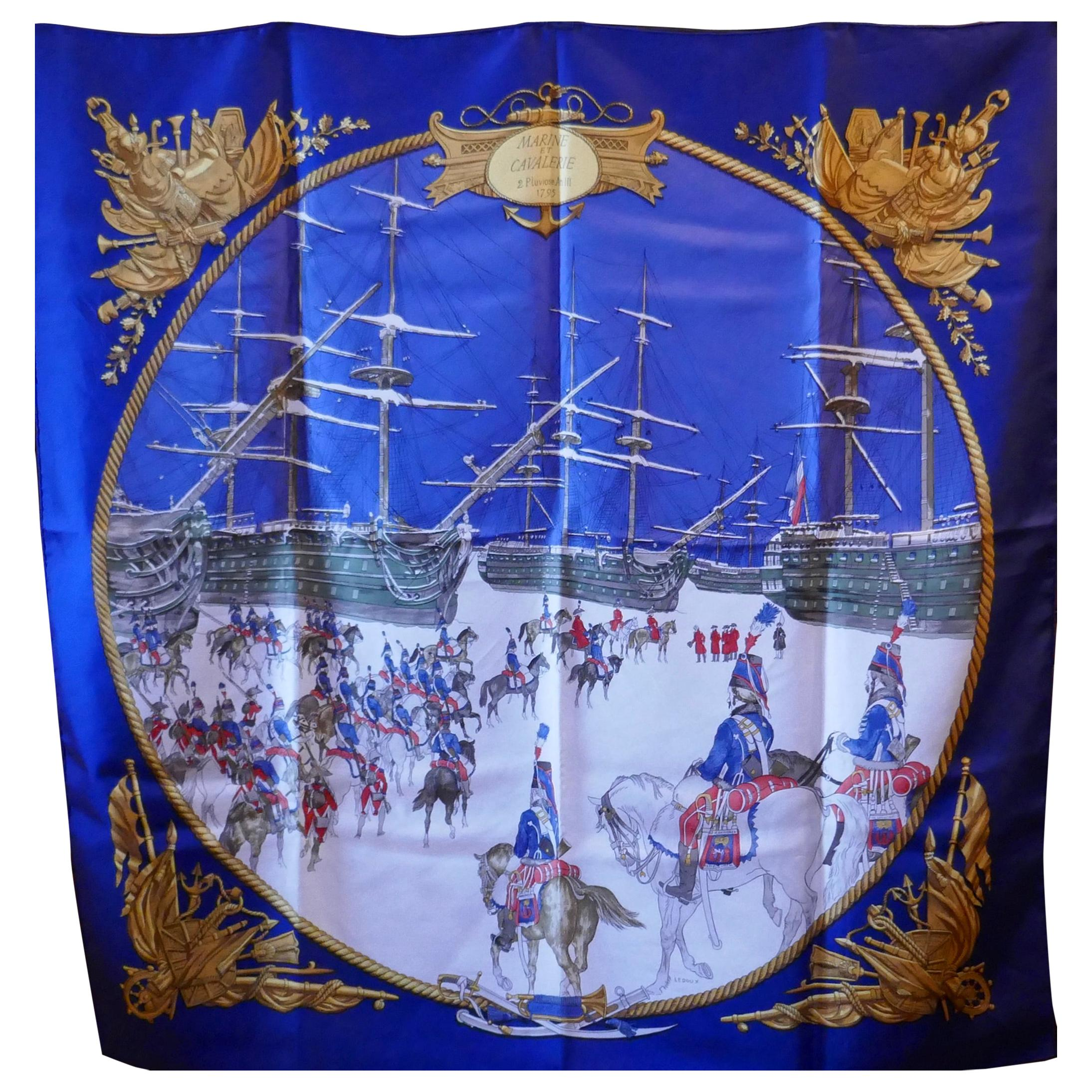"""Vintage 100% Silk Scarf """"Marine et Cavalerie"""" by Philippe Ledoux from 1967"""
