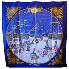 "Vintage 100% Silk Scarf ""Marine et Cavalerie"" by Philippe Ledoux from 1967"