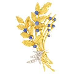 Vintage 1.00 Carat Sapphire and Diamond Floral Brooch, circa 1963