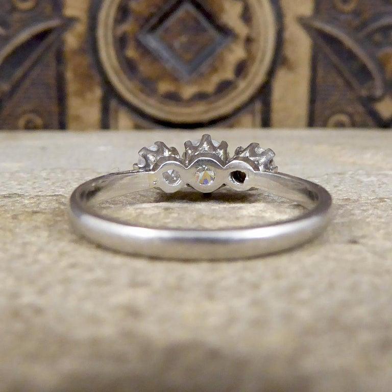 Brilliant Cut Vintage 1.00 Carat total Diamond Three-Stone Ring in Platinum For Sale
