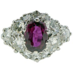 Vintage 1.01 Carat Ruby and Diamond Ring, Cluster Design