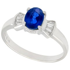 Vintage 1.06 Carat Sapphire and Diamond White Gold Cocktail Ring