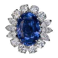 Vintage 10.66 Ct Ceylon Sapphire Diamond Ring