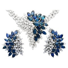 Vintage 10.67ct Sapphire and 9.84ct Diamond White Gold Earring and Necklace Set