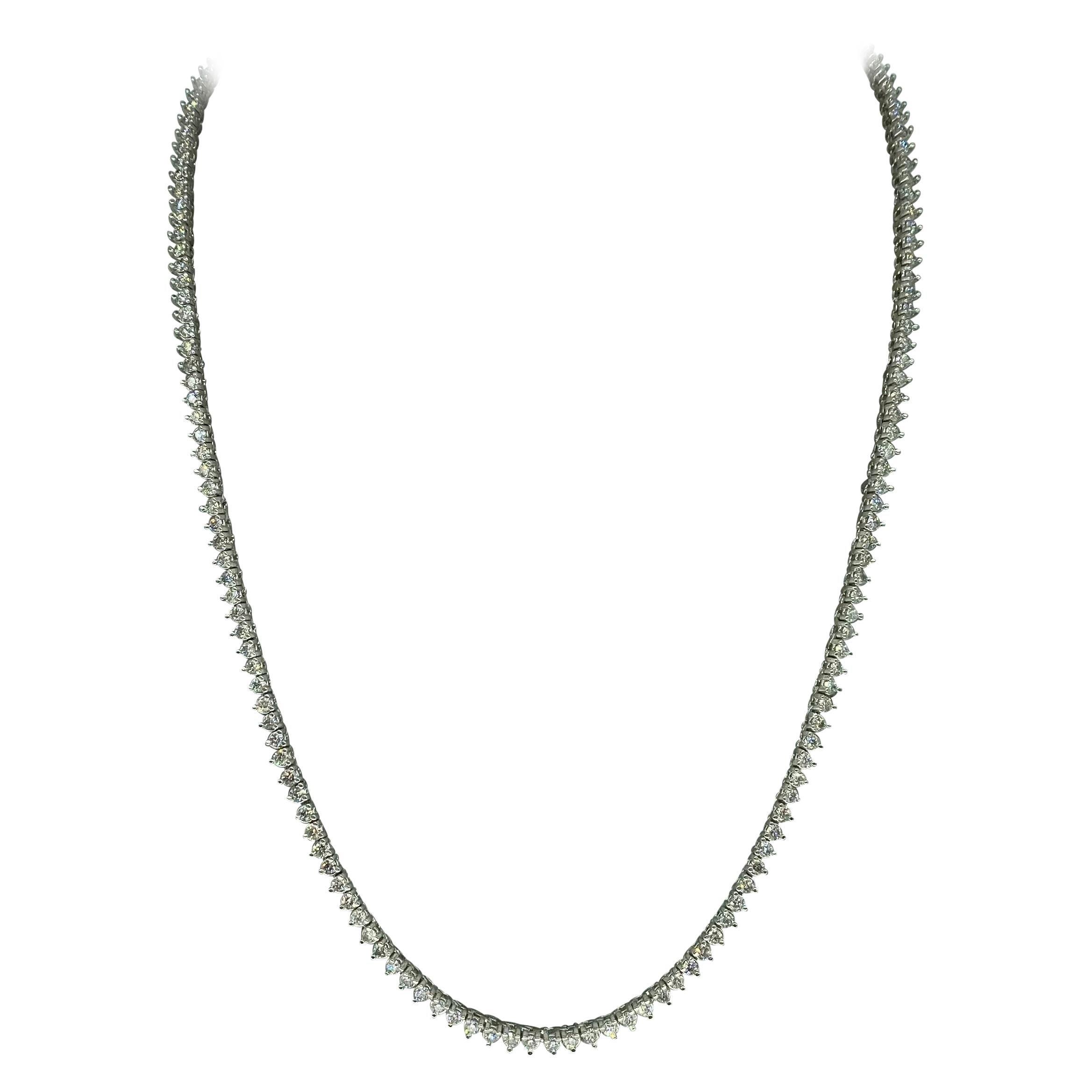 Vintage 10.80 Carat Round Diamond Martini Tennis Necklace