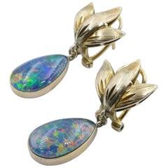 Vintage 10 Carat Yellow Gold Opal Earrings
