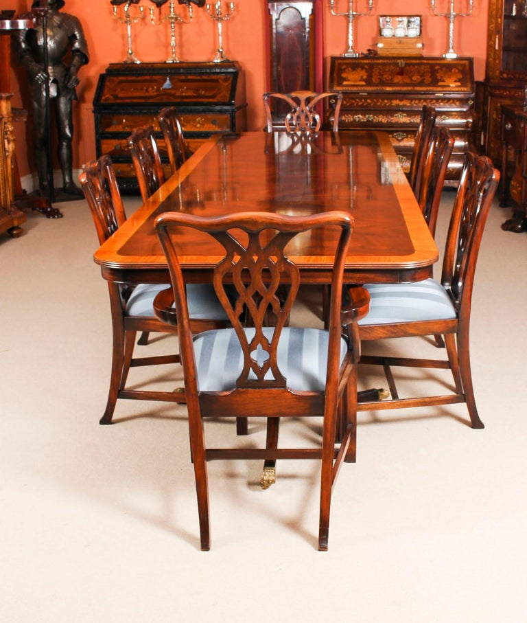 Vintage Twin Pillar Dining Table and 8 Chairs by Rackstraw 20th Century