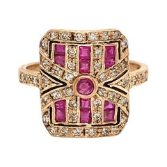 Vintage 10 Karat Yellow Gold Ruby and Diamond Ring