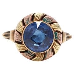 Vintage 10K Yellow/Rose Gold, Blue Stone & Enamel Ring