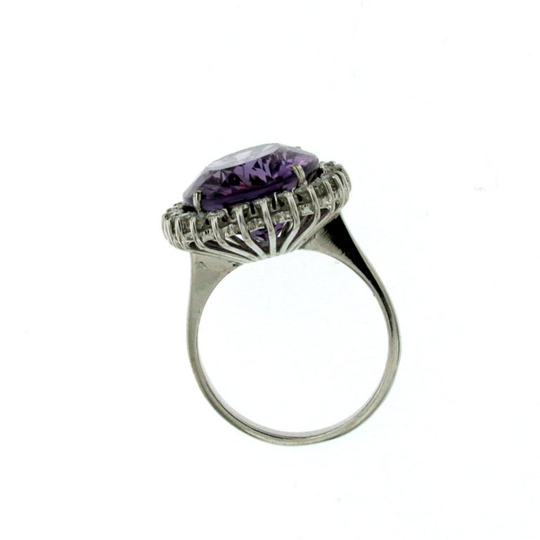 Women's Vintage 11 Carat Amethyst Diamond Gold Ring