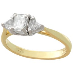 Vintage 1.10 Carat Diamond Gold Three-Stone Ring