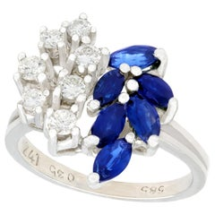 1.10 Carat Sapphire and Diamond White Gold Cocktail Ring
