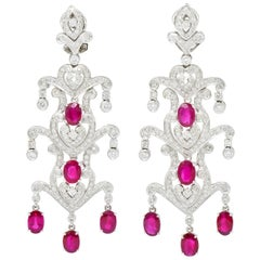 Vintage 11.20 Carat Ruby Diamond 18 Karat White Gold Chandelier Drop Earrings
