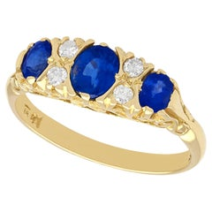 Vintage 1.13 Carat Sapphire and Diamond 18k Yellow Gold Three Stone Ring