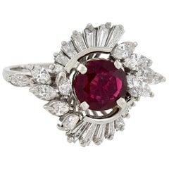 Vintage 1.15 Carat Rubellite Tourmaline and Diamond Ballerina Ring