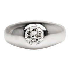 Vintage 1.15 Carats Diamond 18k White Gold Solitaire Men's Gypsy Ring
