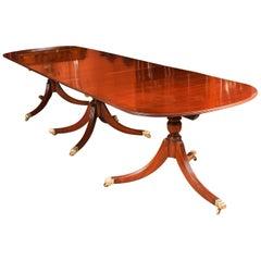 Vintage Regency Mahogany Triple Pillar Dining Table William Tillman 20th Century
