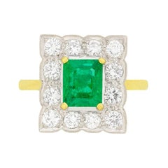 Vintage 1.20 Carat Emerald and Diamond Cocktail Ring, circa 1980s
