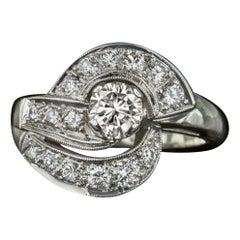 Vintage 1.20 Carat Ideal Cut H Vs Diamond Cocktail Ring Retro 14K White