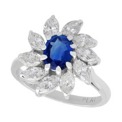 Vintage 1.20 Carat Sapphire and 2.35 Carat Diamond, White Gold Cluster Ring