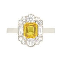 Vintage 1.20 Carat Yellow Sapphire and Diamond Ring, circa 1950s