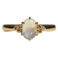 Vintage 1.21 Carat Moonstone Diamond 18 Karat Gold Ring