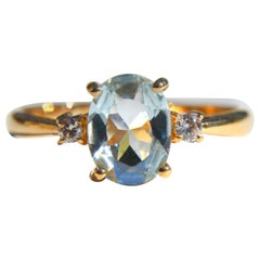 Vintage 1.21 Carat Oval Aquamarine Diamond 18 Karat Gold Ring
