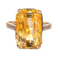 Vintage 12.25ct Golden Citrine Ring 9k Rose Gold Estate Fine Jewelry