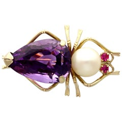 Vintage 12.39 Carat Amethyst Pearl and Ruby Yellow Gold Insect Brooch circa 1960