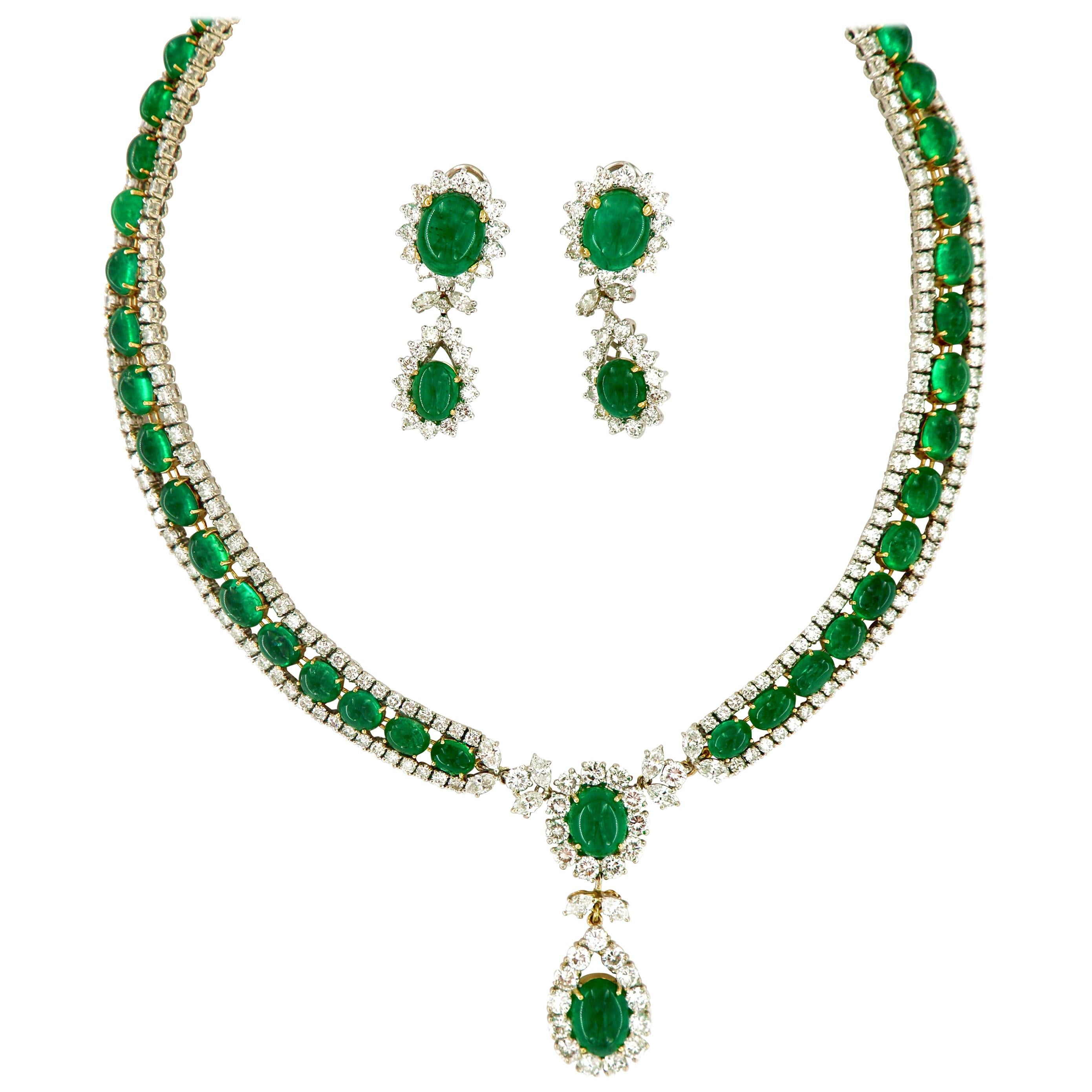 Vintage 125 Carat Russian Emeralds and Diamonds Necklace and Earring Circa 1960