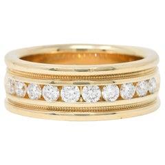 Vintage 1.25 Carats Diamond 14 Karat Gold Men's Wedding Band Ring