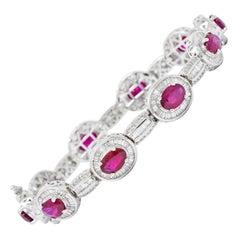 Vintage 12.50 Carat Ruby Diamond 18 Karat White Gold Halo Link Bracelet