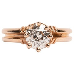 Vintage 1.28 Carat Old European Cut Diamond 14k Rose Gold Antique Solitaire Ring