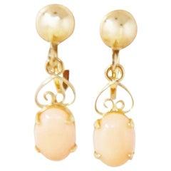 Vintage 12k Gold Filled Angel Skin Coral Drop Earrings By Sorrento, 1940s
