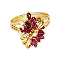 Vintage 1.30 Carat Ruby and Diamonds Flower Cluster Ring