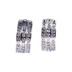 Vintage 1.32 Carat Diamond Huggies Earrings 14 Karat Gold