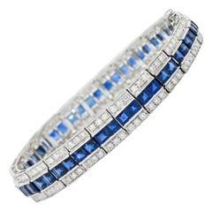 Vintage 13.55 CTW Sapphire Diamond Platinum Line Bracelet