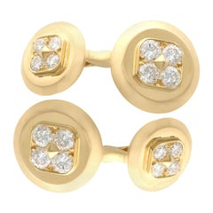 1.36 Carat Diamond and Yellow Gold Cufflinks by Cartier