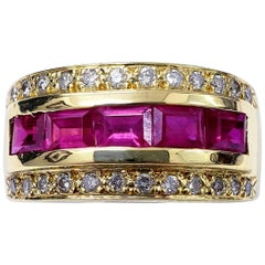 Vintage 1.36 Carat Ruby and Diamond Band Ring
