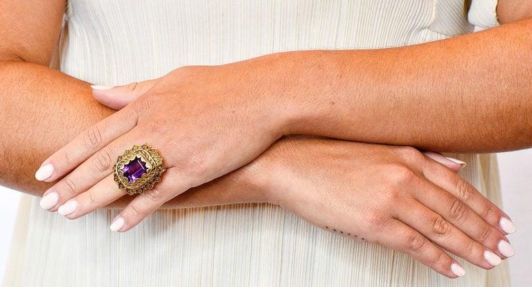Vintage 13.64 Carat Emerald Cut Amethyst 14 Karat Gold Cocktail Ring For Sale 6