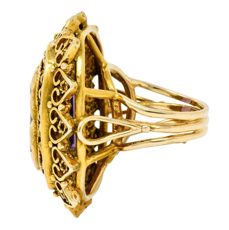Women's or Men's Vintage 13.64 Carat Emerald Cut Amethyst 14 Karat Gold Cocktail Ring For Sale