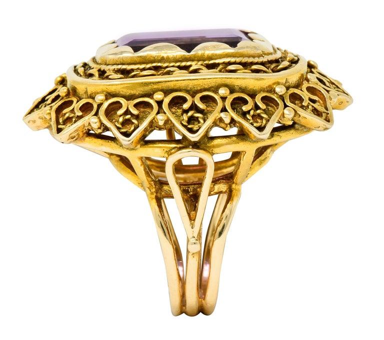 Vintage 13.64 Carat Emerald Cut Amethyst 14 Karat Gold Cocktail Ring For Sale 3
